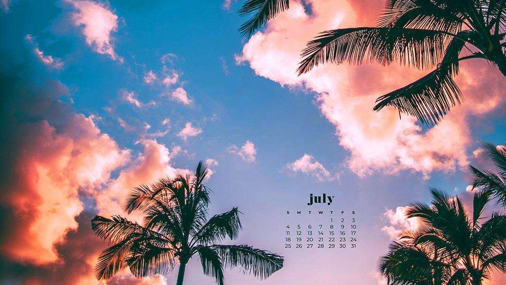 July 2021 wallpaper calendar ocean and palm trees at sunset
