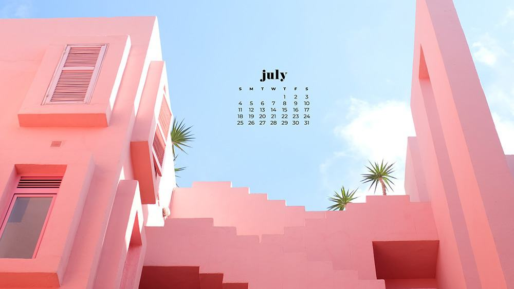 July 2021 wallpaper calendar pink architecture with palm trees