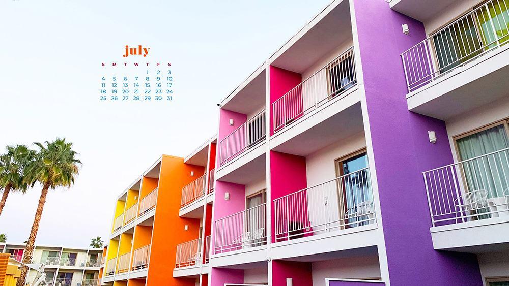 July 2021 wallpaper calendar rainbow colorful saguaro hotel palm springs