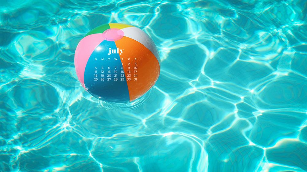 July 2021 wallpaper calendar ccolorful beach ball and pool water