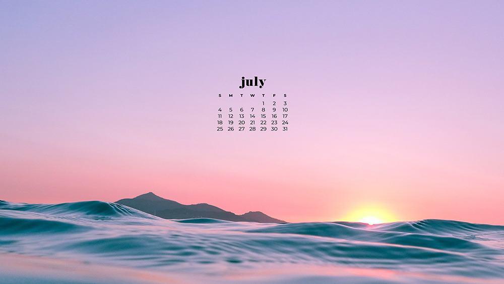 July 2021 wallpaper calendar beach at sunset