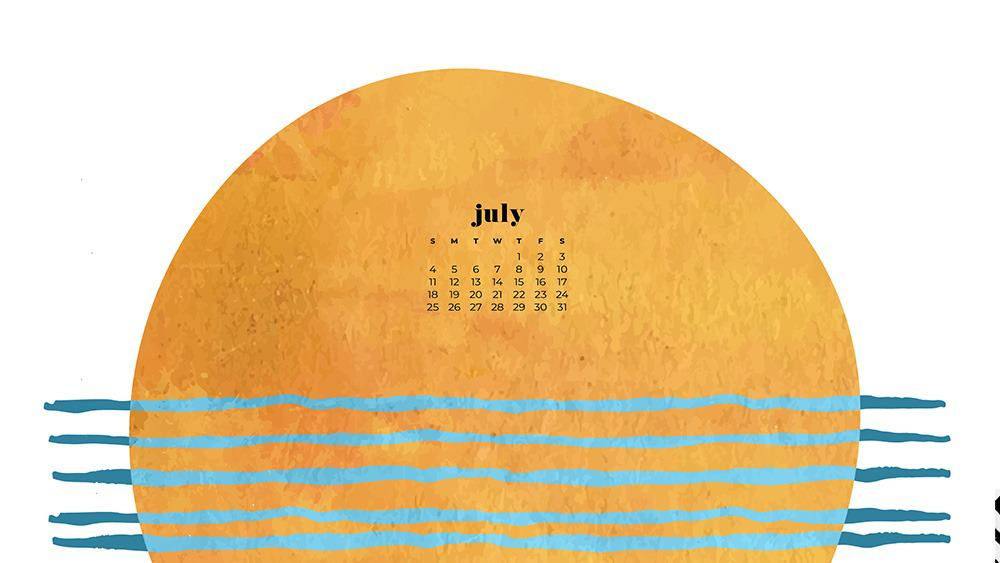 July 2021 wallpaper calendar colorful abstract modern overlapping shapes sun and ocean