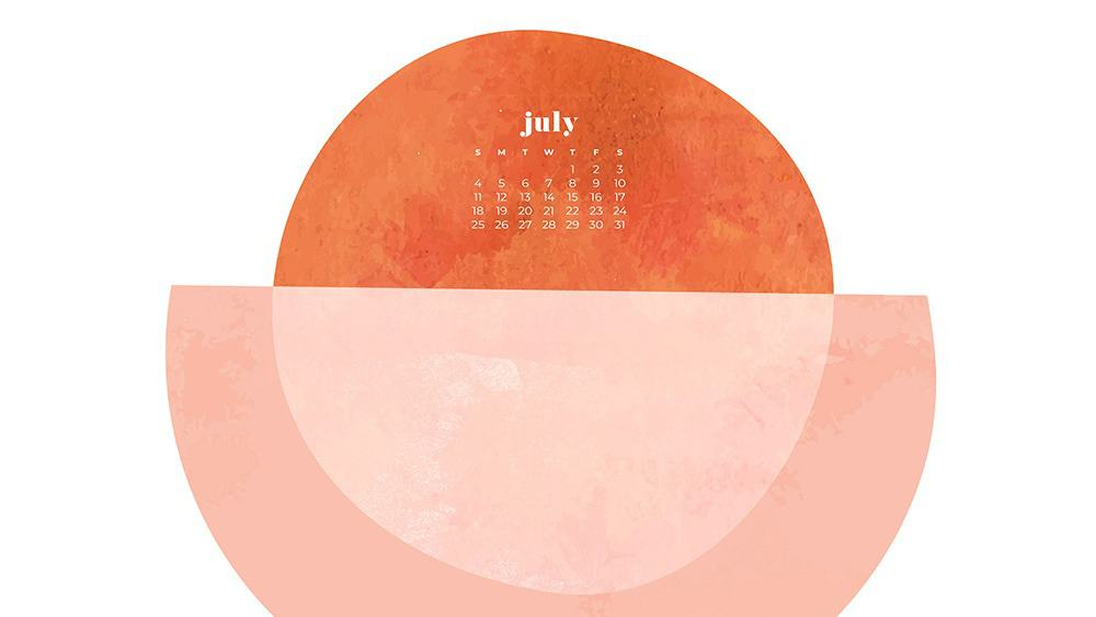 July 2021 wallpaper calendar colorful abstract modern overlapping shapes