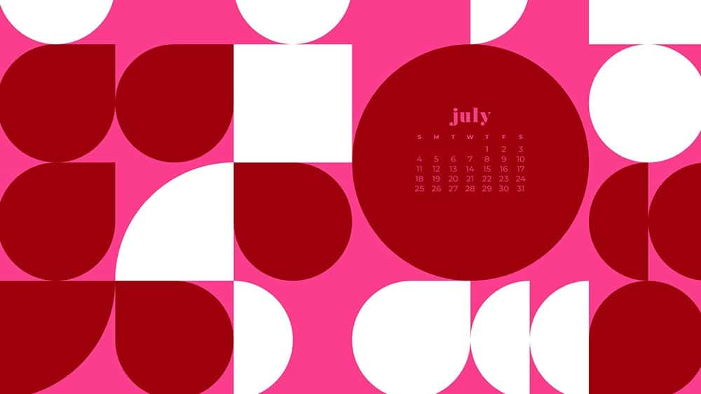 July 2021 wallpaper calendar red and pink abstract modern shapes in pattern
