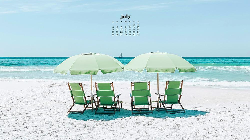 July 2021 wallpaper calendar ocean beach and green chair and umbrellas