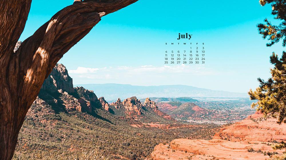 July 2021 wallpaper calendar Sedona, Arizona red rocks and trees