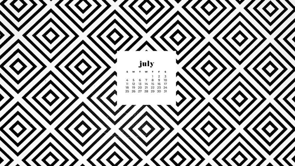 July 2021 wallpaper calendar black and white square pattern