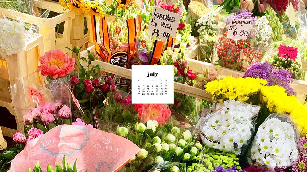 July 2021 wallpaper calendar flowers in a london shopping market