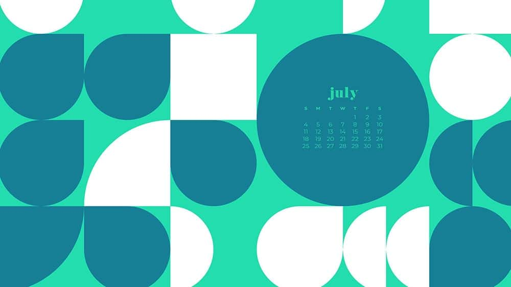 July 2021 wallpaper calendar turquoise and green abstract modern shapes in pattern
