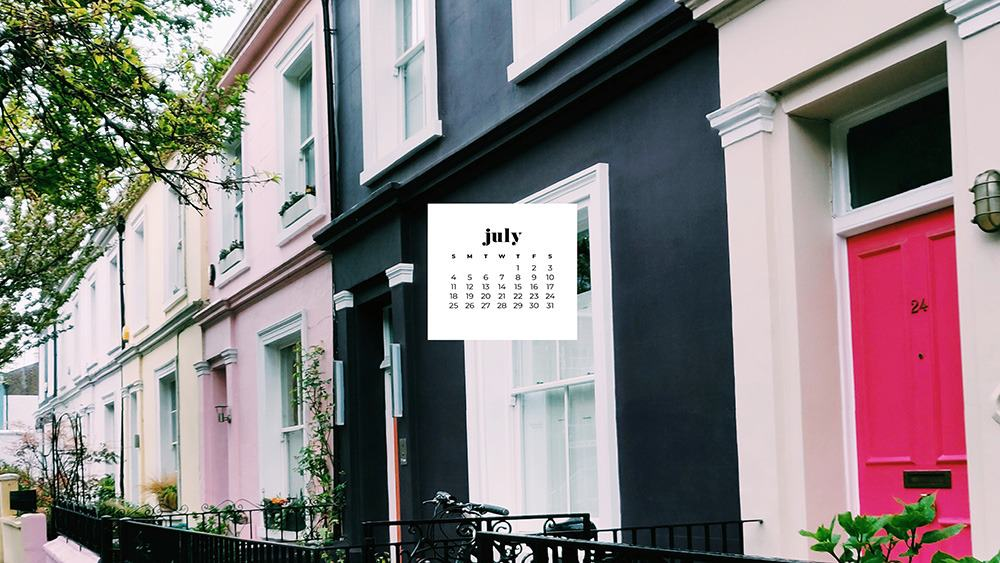 July 2021 wallpaper calendar pink, hot pink, and black homes in London Notting Hill