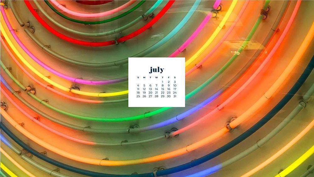 July 2021 wallpaper calendar colorful neon lights in London