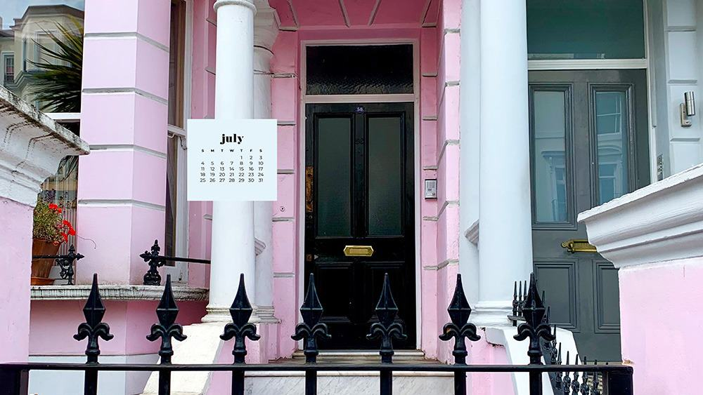 July 2021 wallpaper calendar pink, and white homes in London Notting Hill
