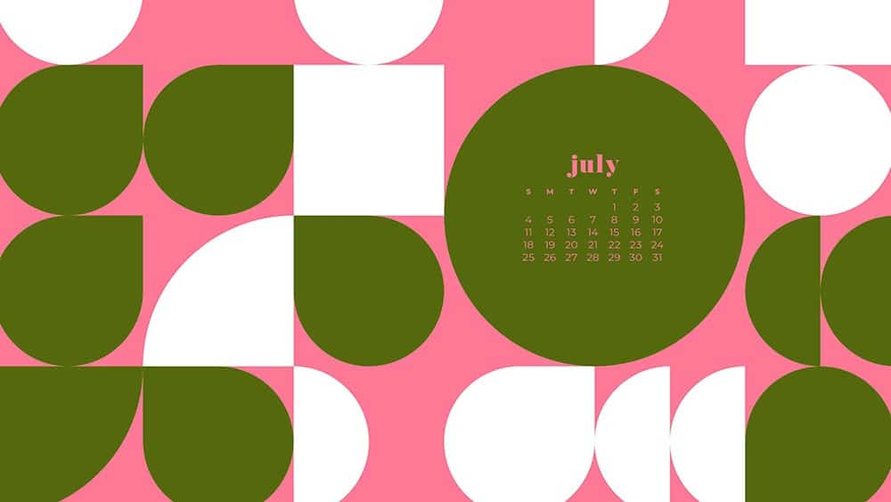 July 2021 wallpaper calendar pink and green abstract modern shapes in pattern