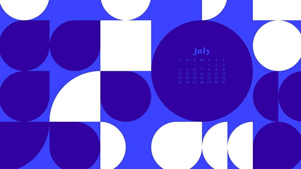 July 2021 wallpaper calendar purple abstract modern shapes in pattern