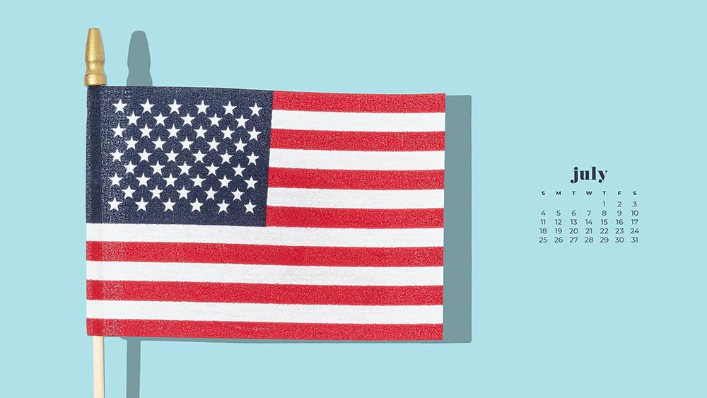 July 2021 wallpaper calendar turquoise background with american flag