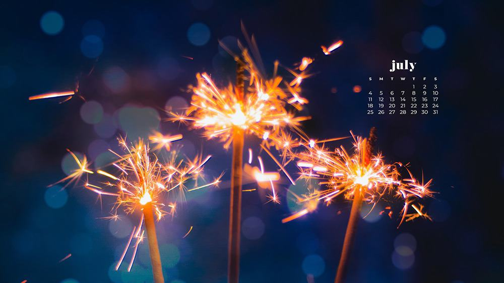 July 2021 wallpaper calendar independence day 4th of july sparklers