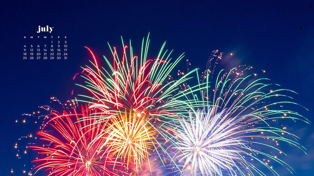 July 2021 wallpaper calendar independence day 4th of july fireworks