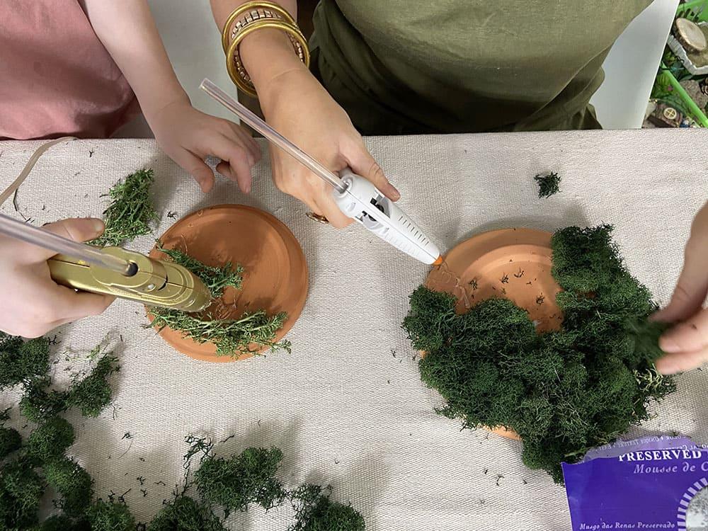 hot glue moss to a terra cotta pot saucer to make a treetop