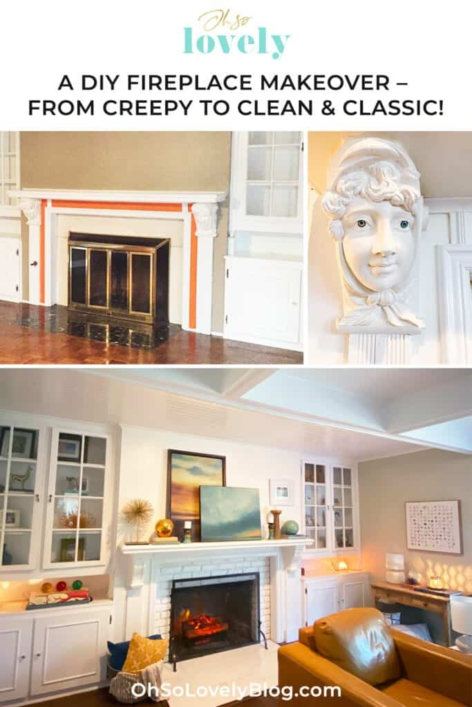 A step-by-step DIY fireplace makeover tutorial – See how it went from extra creepy to clean and classic on a very small budget!
