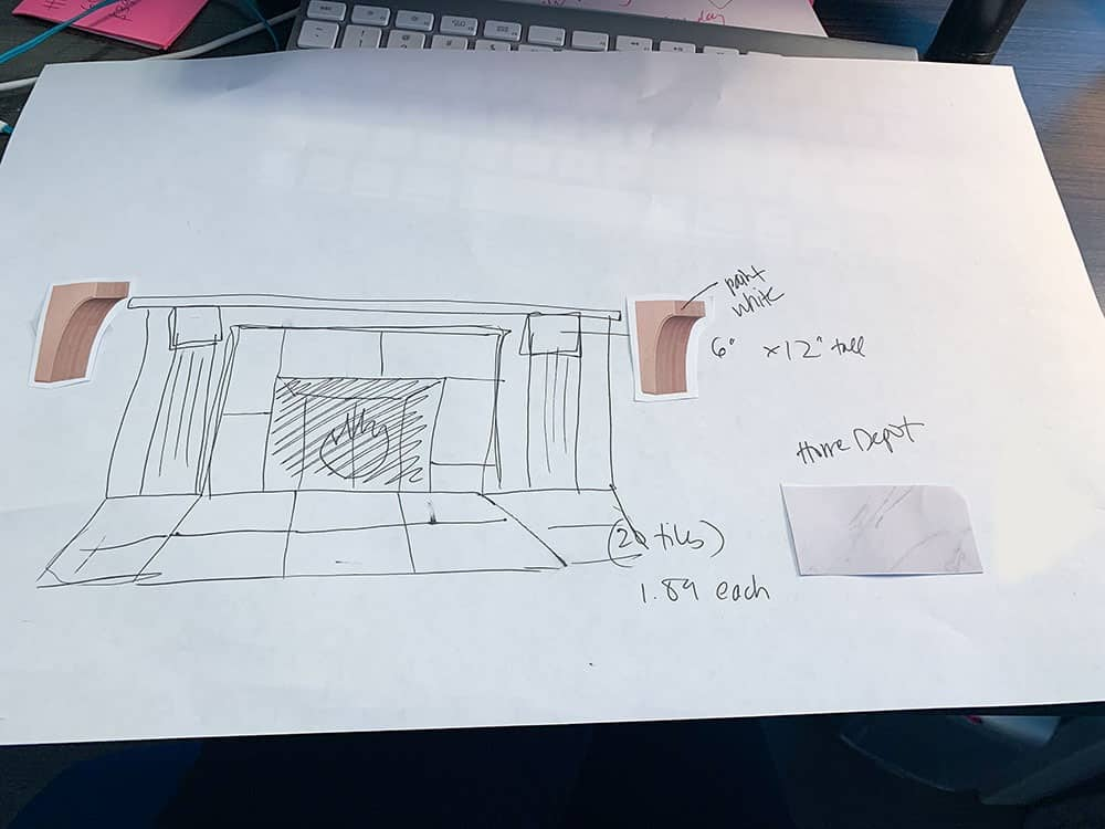 the DIY fireplace makeover plan - a sketch