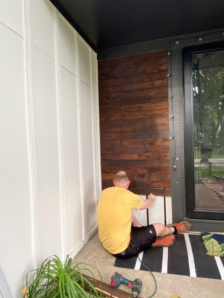 adding modern wood slat wall to porch