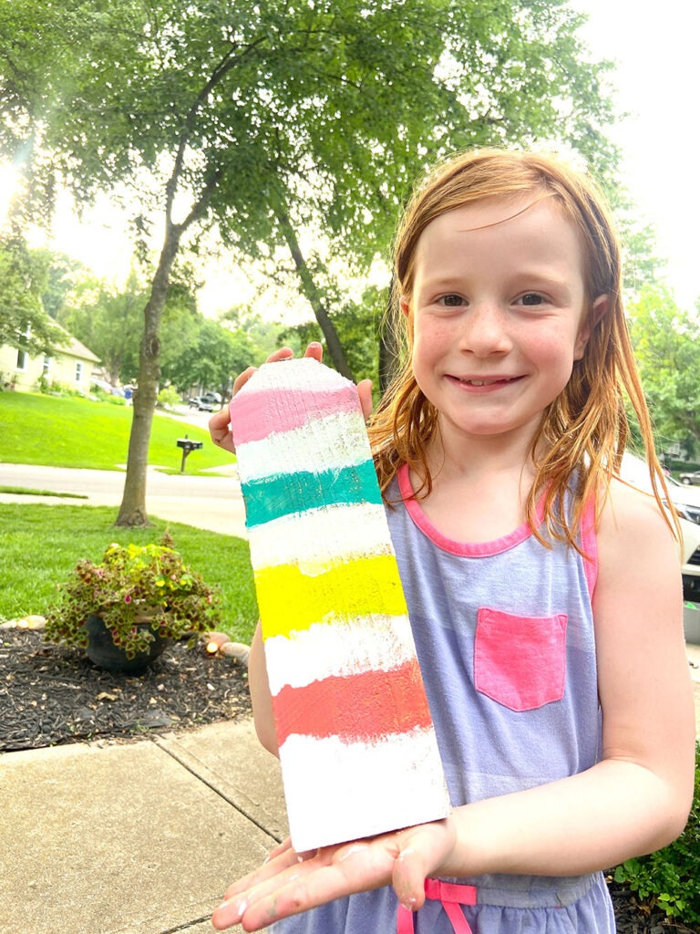 upcycling excess fence pickets into kid art crafts