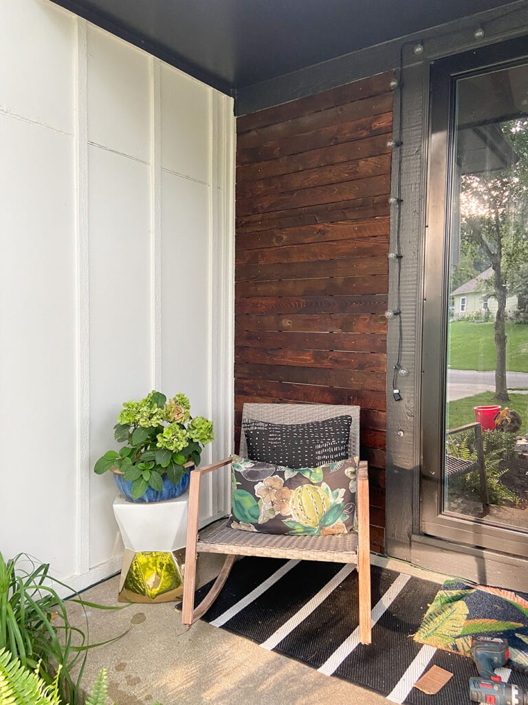 How a DIY wood cladding slat porch wall added some much needed warmth and curb appeal to our home!