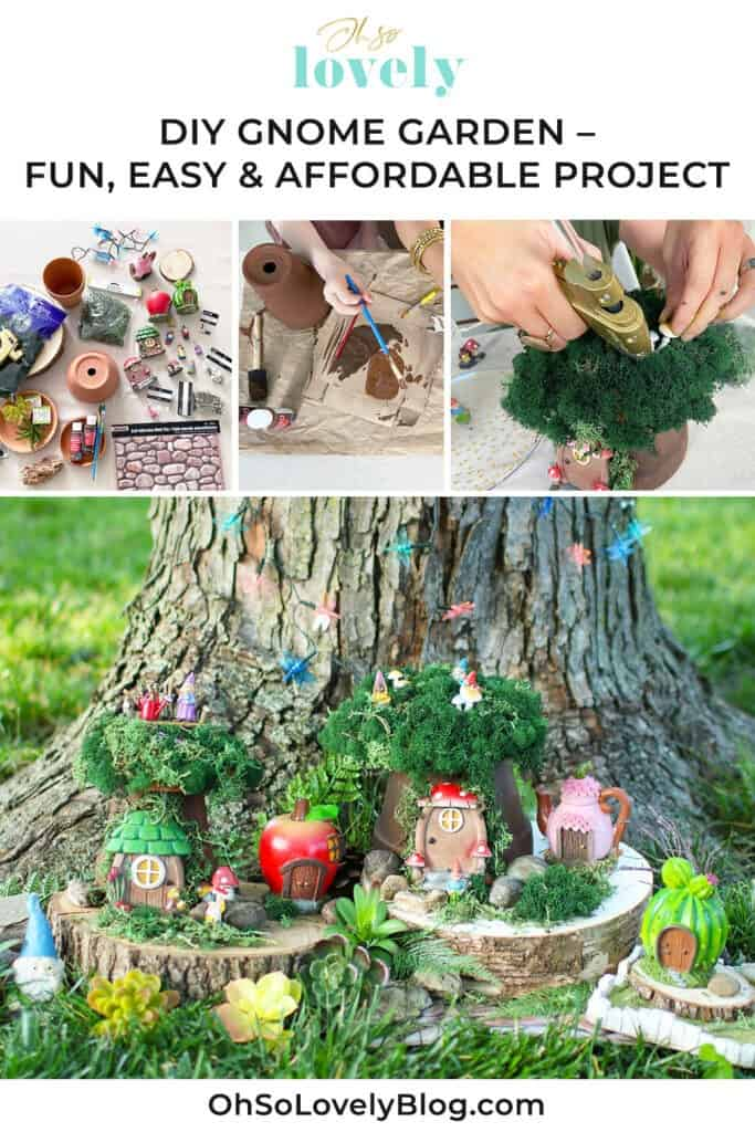 DIY gnome village garden – a fun, easy & affordable tutorial. It's the perfect summer project for all ages, kids and adults.