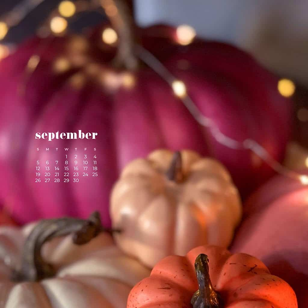 colorful stacked pumpkins on a table with fairy lights bokeh - pink, orange, coral, cream