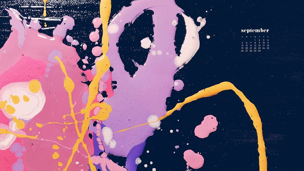 pink, purple, yellow, paint swirled on navy background FREE wallpaper calendars in Sunday and Monday starts + no-calendar options. 35 designs for both desktop and smart phones!