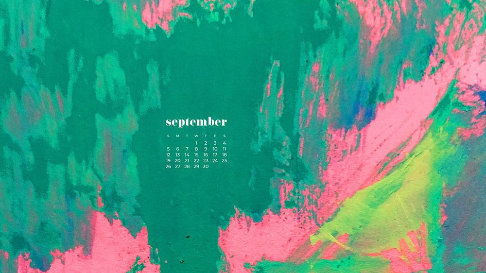 bright kelly green, pink, and lime abstract art FREE wallpaper calendars in Sunday and Monday starts + no-calendar options. 35 designs for both desktop and smart phones!