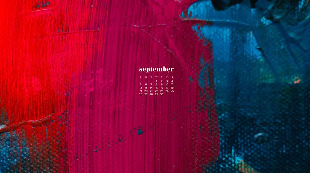 dark abstract painting - blue, red, magenta FREE wallpaper calendars in Sunday and Monday starts + no-calendar options. 35 designs for both desktop and smart phones!