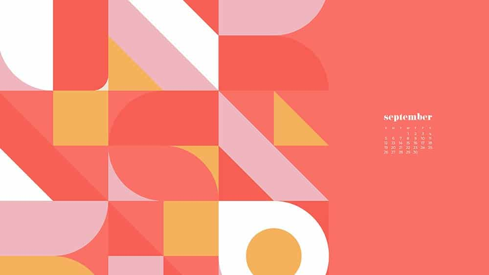 coral, orange, yellow, white modern retro shapes pattern FREE wallpaper calendars in Sunday and Monday starts + no-calendar options. 35 designs for both desktop and smart phones!