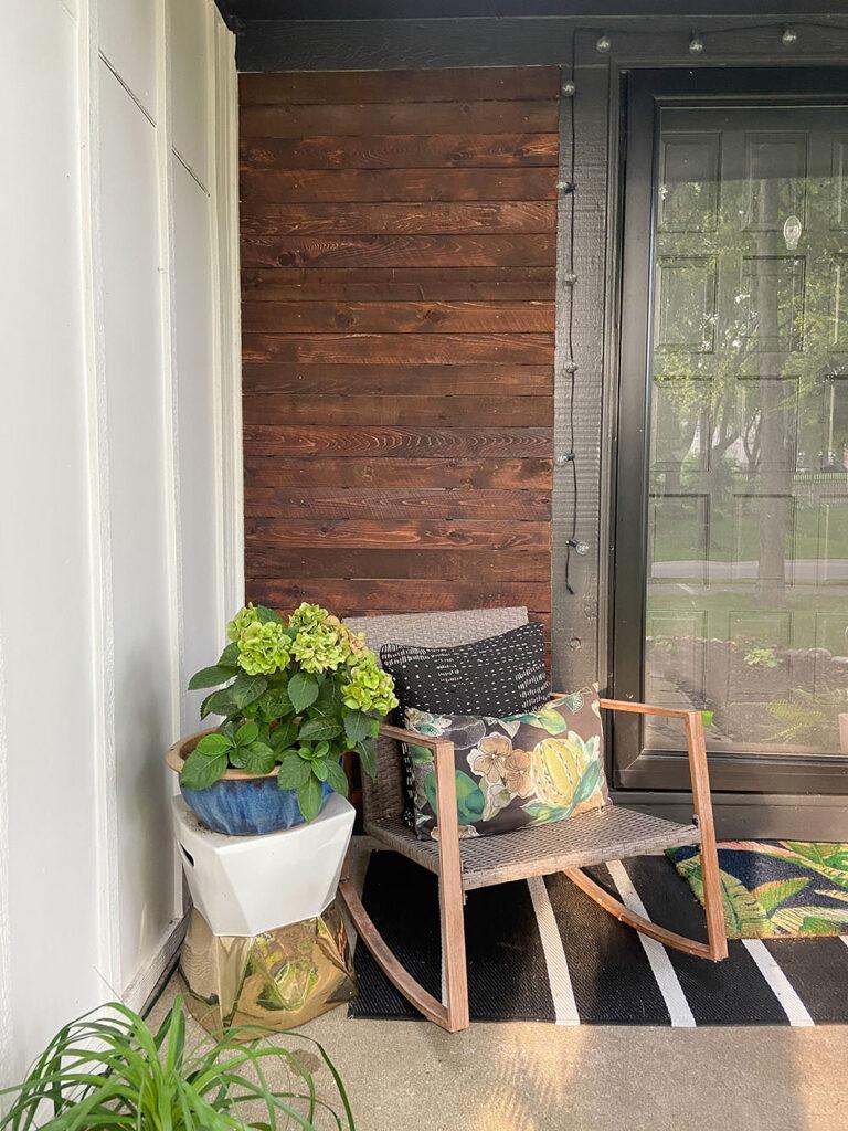 DIY wood cladding slat porch wall