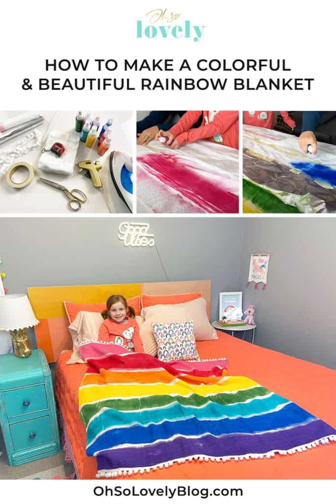 Rainbow blanket tutorial – Learn just how easy it is to make this cute and colorful decorative throw with festive pom pons.