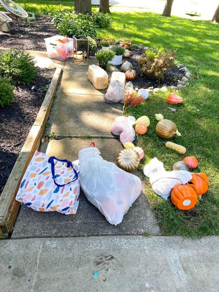 fall decor storage bags and bins