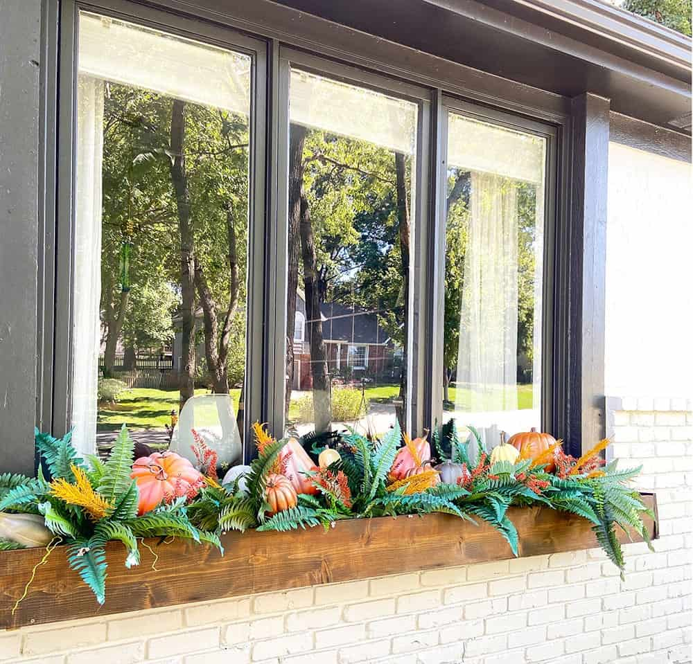 fall front porch and window box decor