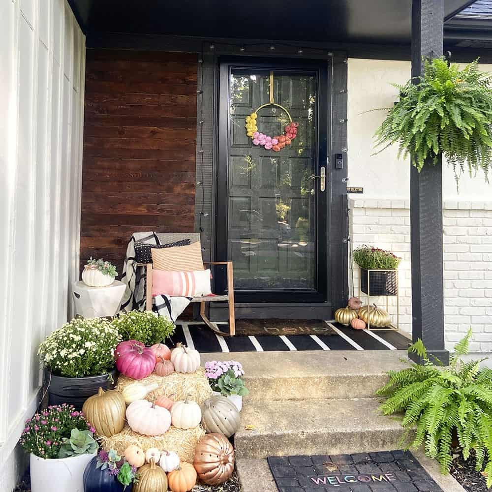 Fall front porch and window box decor tips – Join me on a colorful, fun, and festive tour full of faux pumpkins and fairy lights!
