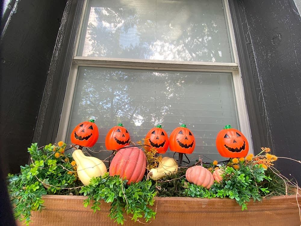 halloween decor ideas for a window box closer