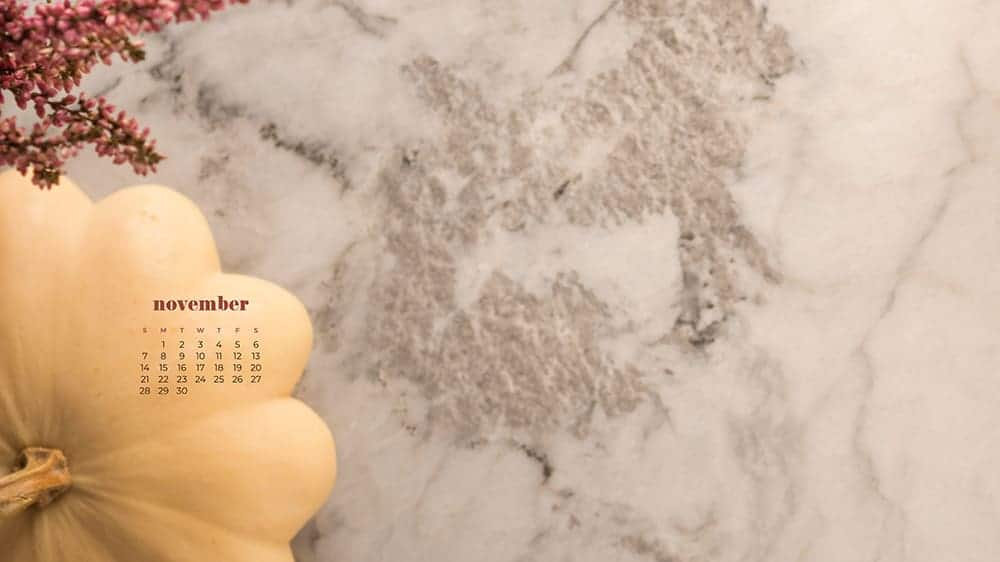 Marble with a simple pumpkin and floral November - FREE wallpaper calendars in Sunday & Monday starts + no-calendar designs. 35 options for both desktop and smart phones!