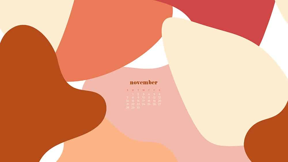 abstract colorful shapes design in fall colors November 2021 - FREE wallpaper calendars in Sunday & Monday starts + no-calendar designs. 35 options for both desktop and smart phones!