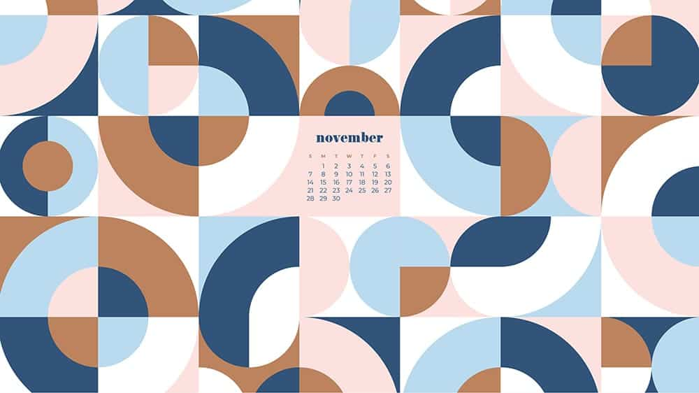 modern retro geometric pattern in blues, golds, pinks with a calendar November - FREE wallpaper calendars in Sunday & Monday starts + no-calendar designs. 35 options for both desktop and smart phones!