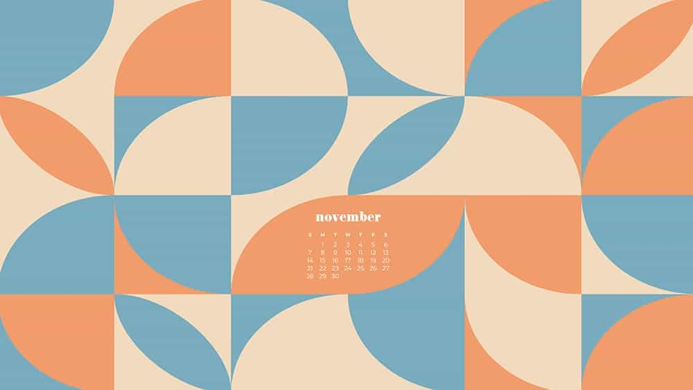 modern retro geometric pattern in blue, cream, coral with a calendar November - FREE wallpaper calendars in Sunday & Monday starts + no-calendar designs. 35 options for both desktop and smart phones!