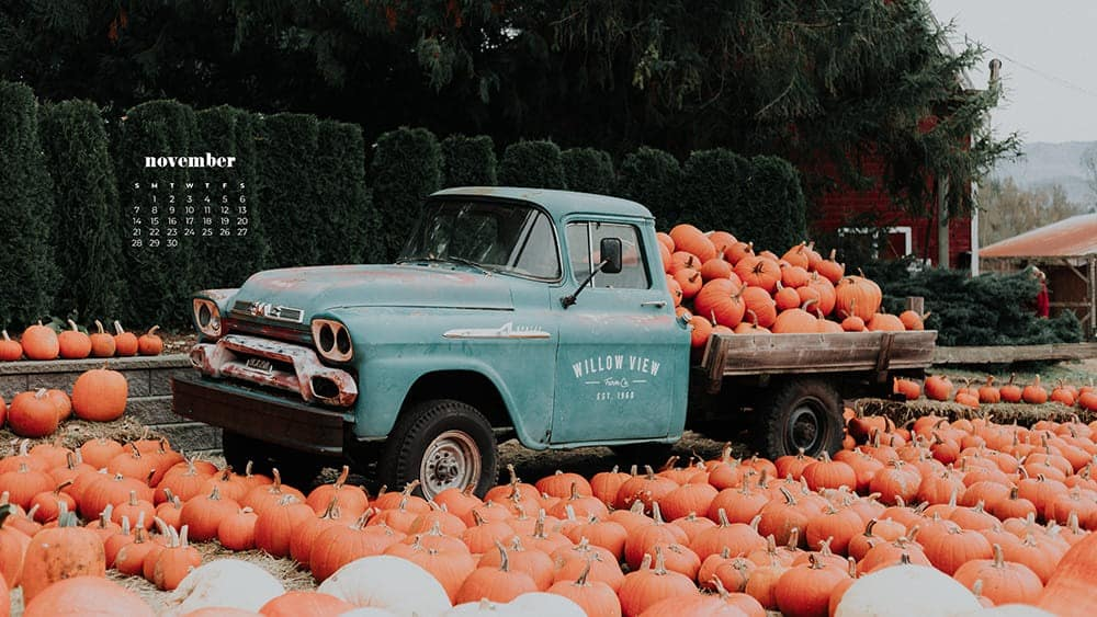 vintage turquoise truck with tons of pumpkins November - FREE wallpaper calendars in Sunday & Monday starts + no-calendar designs. 35 options for both desktop and smart phones!