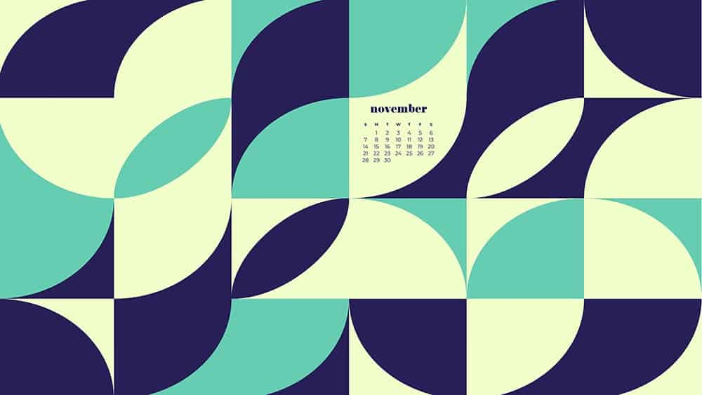 modern retro geometric pattern in blues, greens, lime with a calendar November - FREE wallpaper calendars in Sunday & Monday starts + no-calendar designs. 35 options for both desktop and smart phones!