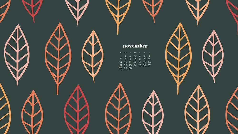 Colorful illustrated eaves on gray background November - FREE wallpaper calendars in Sunday & Monday starts + no-calendar designs. 35 options for both desktop and smart phones!
