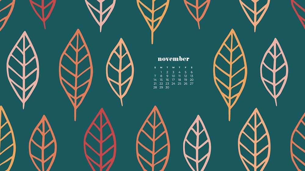 Colorful illustrated eaves on turquoise background November - FREE wallpaper calendars in Sunday & Monday starts + no-calendar designs. 35 options for both desktop and smart phones!