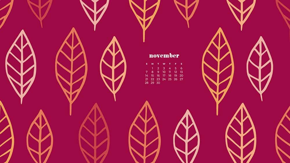 Colorful illustrated eaves on dark pinkbackground November - FREE wallpaper calendars in Sunday & Monday starts + no-calendar designs. 35 options for both desktop and smart phones!