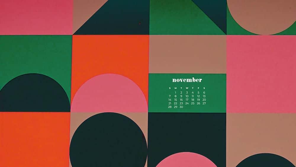 colorful modern retro geometric shape pattern November - FREE wallpaper calendars in Sunday & Monday starts + no-calendar designs. 35 options for both desktop and smart phones!